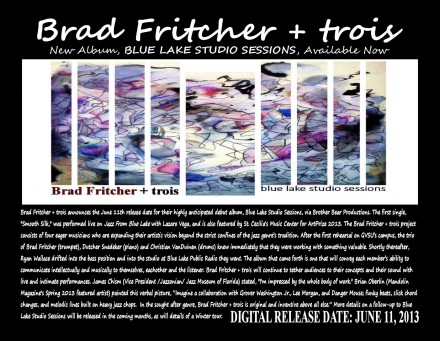 Debut album, Blue Lake Studio Sessions by Brad Fritcher + trois available TODAY!
